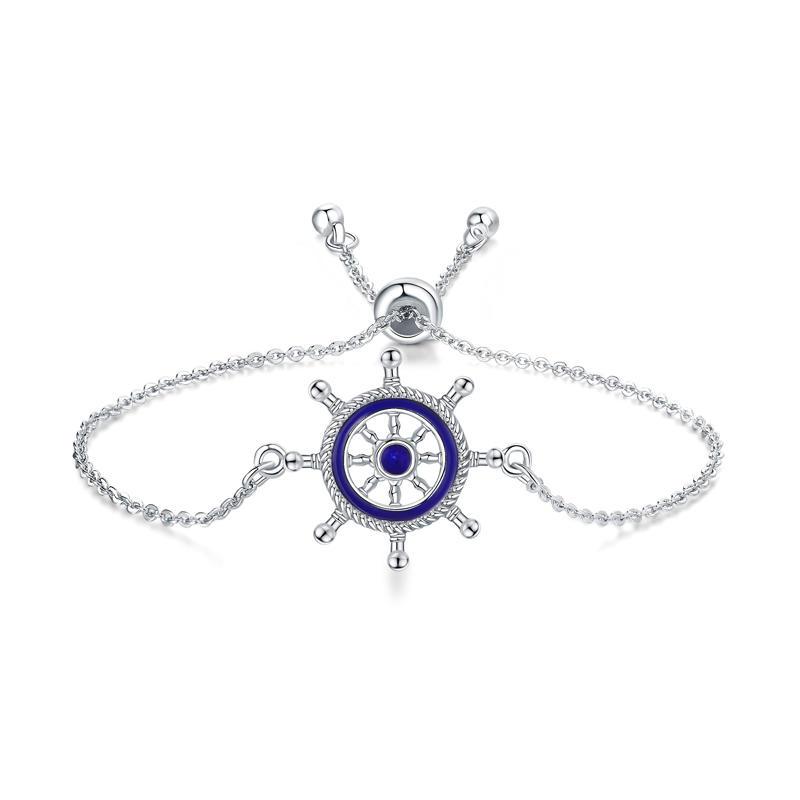 Navy Style Anchor Rudder Shiny Crystal Adjustable Bracelets Jewelry